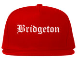 Bridgeton New Jersey NJ Old English Mens Snapback Hat Red