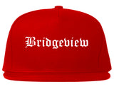Bridgeview Illinois IL Old English Mens Snapback Hat Red