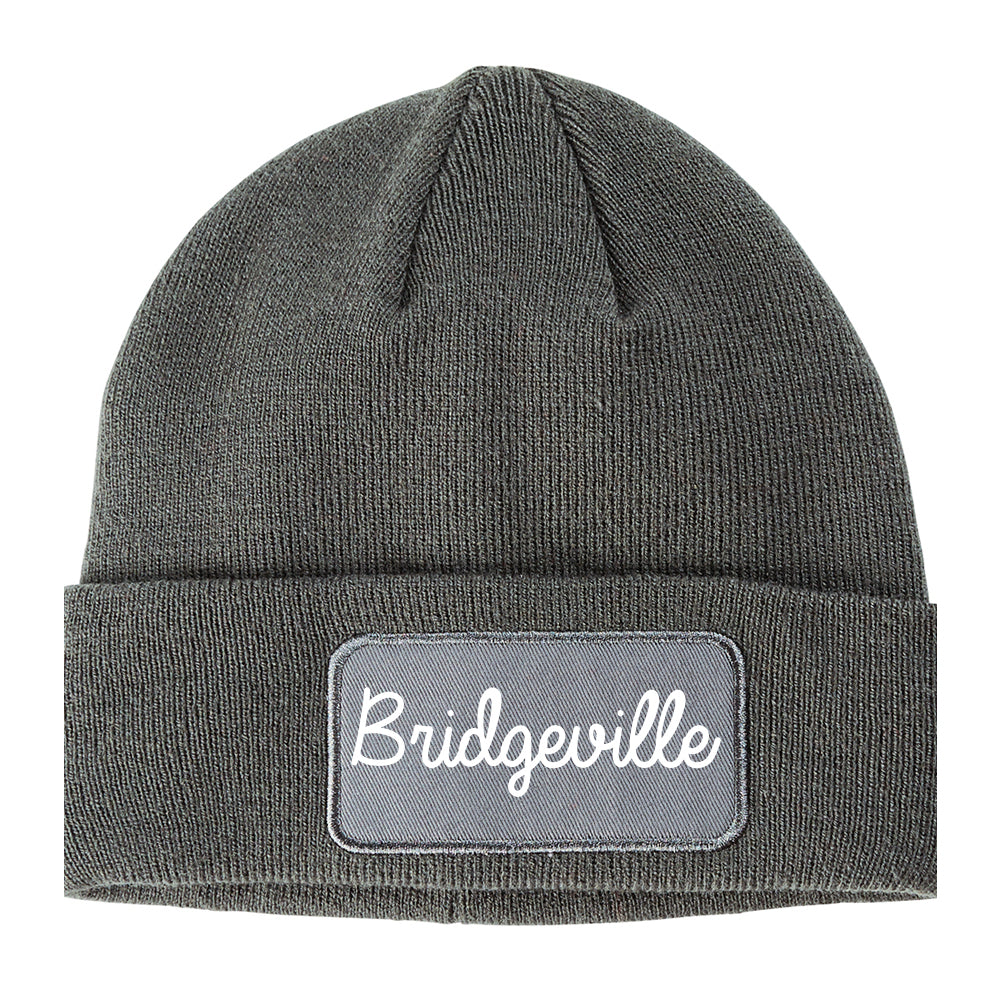 Bridgeville Pennsylvania PA Script Mens Knit Beanie Hat Cap Grey