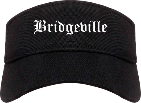 Bridgeville Pennsylvania PA Old English Mens Visor Cap Hat Black