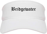 Bridgewater Virginia VA Old English Mens Visor Cap Hat White