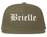 Brielle New Jersey NJ Old English Mens Snapback Hat Grey