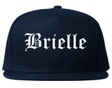 Brielle New Jersey NJ Old English Mens Snapback Hat Navy Blue