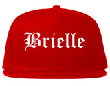 Brielle New Jersey NJ Old English Mens Snapback Hat Red