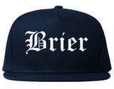 Brier Washington WA Old English Mens Snapback Hat Navy Blue