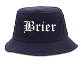 Brier Washington WA Old English Mens Bucket Hat Navy Blue