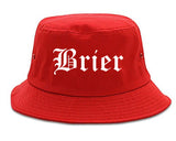 Brier Washington WA Old English Mens Bucket Hat Red