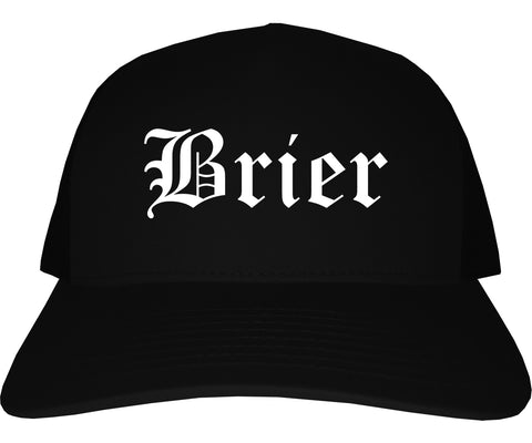 Brier Washington WA Old English Mens Trucker Hat Cap Black