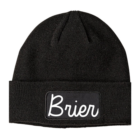 Brier Washington WA Script Mens Knit Beanie Hat Cap Black