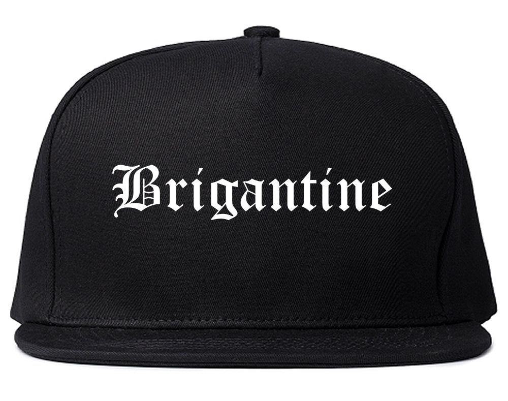 Brigantine New Jersey NJ Old English Mens Snapback Hat Black