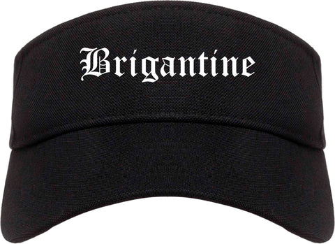 Brigantine New Jersey NJ Old English Mens Visor Cap Hat Black