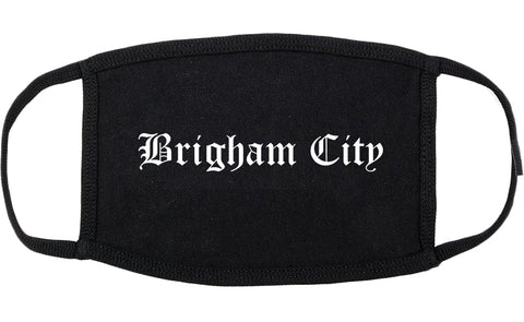 Brigham City Utah UT Old English Cotton Face Mask Black