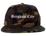 Brigham City Utah UT Old English Mens Snapback Hat Army Camo