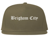 Brigham City Utah UT Old English Mens Snapback Hat Grey