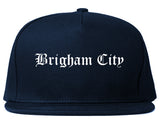 Brigham City Utah UT Old English Mens Snapback Hat Navy Blue