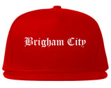 Brigham City Utah UT Old English Mens Snapback Hat Red