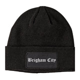 Brigham City Utah UT Old English Mens Knit Beanie Hat Cap Black