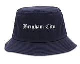 Brigham City Utah UT Old English Mens Bucket Hat Navy Blue