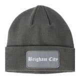 Brigham City Utah UT Old English Mens Knit Beanie Hat Cap Grey