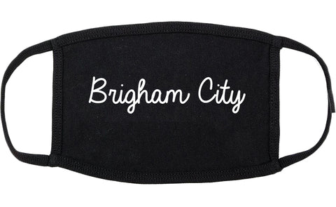Brigham City Utah UT Script Cotton Face Mask Black