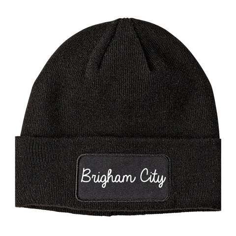 Brigham City Utah UT Script Mens Knit Beanie Hat Cap Black