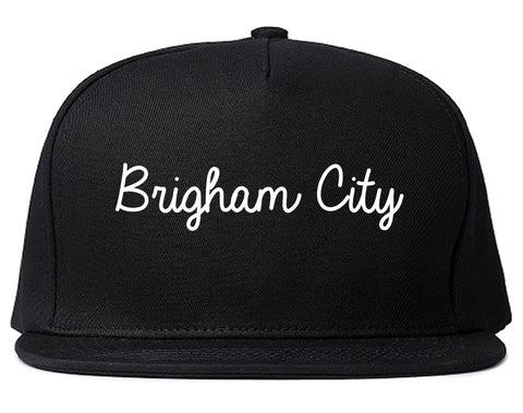 Brigham City Utah UT Script Mens Snapback Hat Black