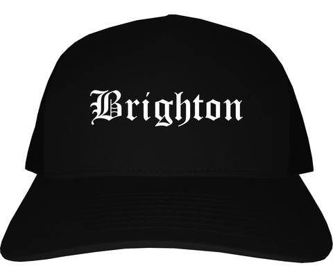 Brighton Michigan MI Old English Mens Trucker Hat Cap Black