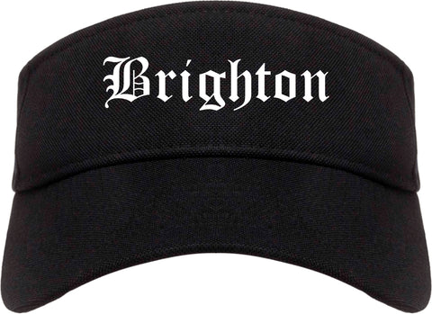 Brighton Michigan MI Old English Mens Visor Cap Hat Black