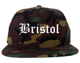 Bristol Connecticut CT Old English Mens Snapback Hat Army Camo