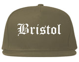 Bristol Connecticut CT Old English Mens Snapback Hat Grey