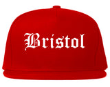 Bristol Connecticut CT Old English Mens Snapback Hat Red