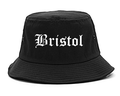 Bristol Connecticut CT Old English Mens Bucket Hat Black