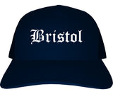 Bristol Connecticut CT Old English Mens Trucker Hat Cap Navy Blue