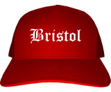 Bristol Connecticut CT Old English Mens Trucker Hat Cap Red