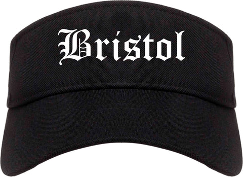 Bristol Virginia VA Old English Mens Visor Cap Hat Black