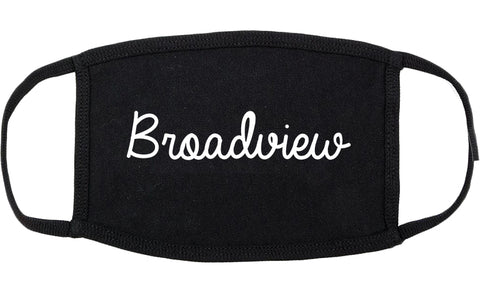 Broadview Illinois IL Script Cotton Face Mask Black