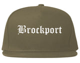 Brockport New York NY Old English Mens Snapback Hat Grey