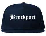Brockport New York NY Old English Mens Snapback Hat Navy Blue