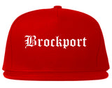 Brockport New York NY Old English Mens Snapback Hat Red
