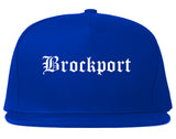 Brockport New York NY Old English Mens Snapback Hat Royal Blue