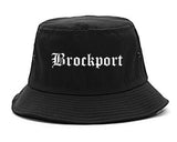 Brockport New York NY Old English Mens Bucket Hat Black