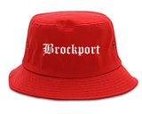 Brockport New York NY Old English Mens Bucket Hat Red