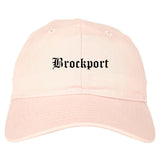 Brockport New York NY Old English Mens Dad Hat Baseball Cap Pink