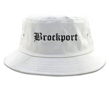 Brockport New York NY Old English Mens Bucket Hat White