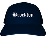 Brockton Massachusetts MA Old English Mens Trucker Hat Cap Navy Blue