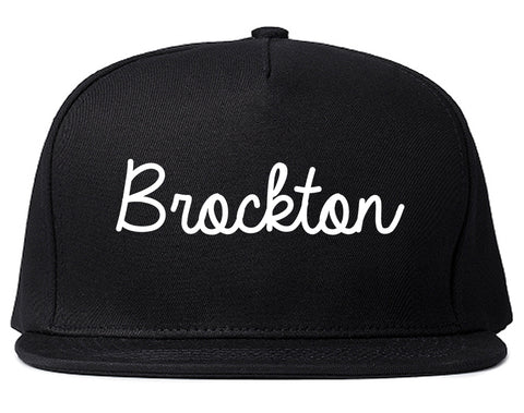 Brockton Massachusetts MA Script Mens Snapback Hat Black