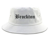Brockton Massachusetts MA Old English Mens Bucket Hat White