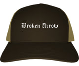 Broken Arrow Oklahoma OK Old English Mens Trucker Hat Cap Brown