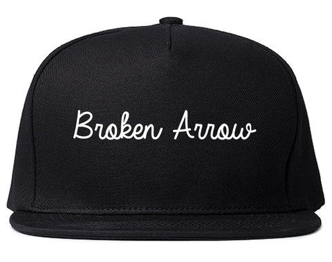 Broken Arrow Oklahoma OK Script Mens Snapback Hat Black