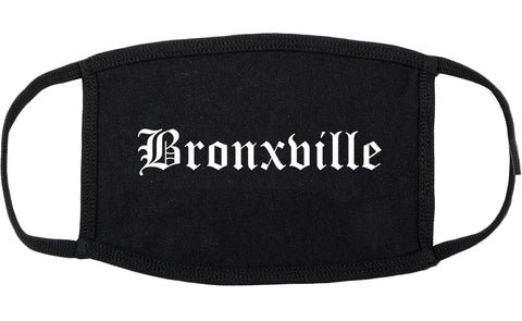 Bronxville New York NY Old English Cotton Face Mask Black